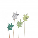 Wood leaves, to stick, 7cm, 4 colors, assorted